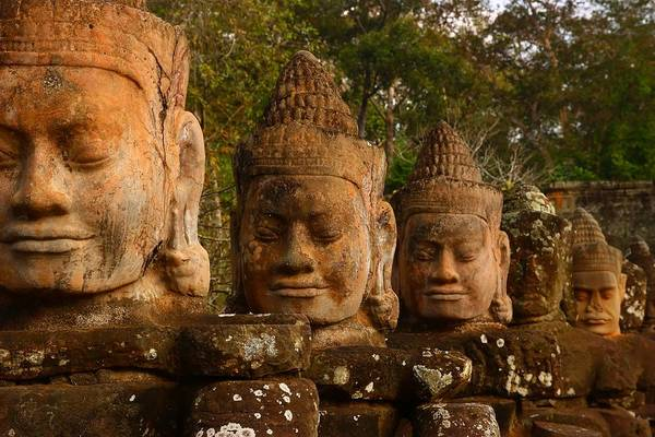 Angkor Thom Art Print featuring the photograph Stone Heads by FireFlux Studios