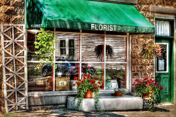Awning Art Print featuring the photograph Store - Florist by Mike Savad
