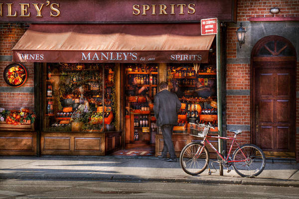 Manley Print featuring the photograph Store - Wine - Ny - Chelsea - Wines And Spirits Est 1934 by Mike Savad