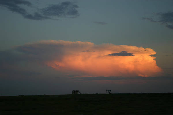 Storm Art Print featuring the photograph Storm Cloud And Oil Well by Nina Fosdick