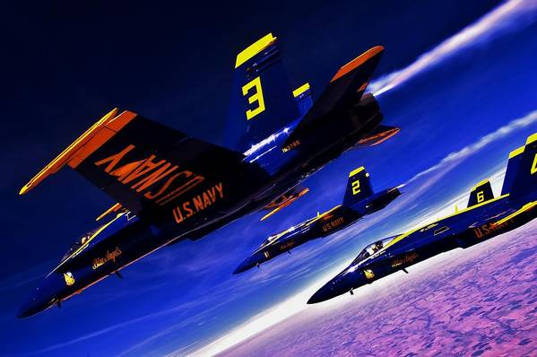 Blue Angels Art Print featuring the photograph Streaking Blues by Benjamin Yeager