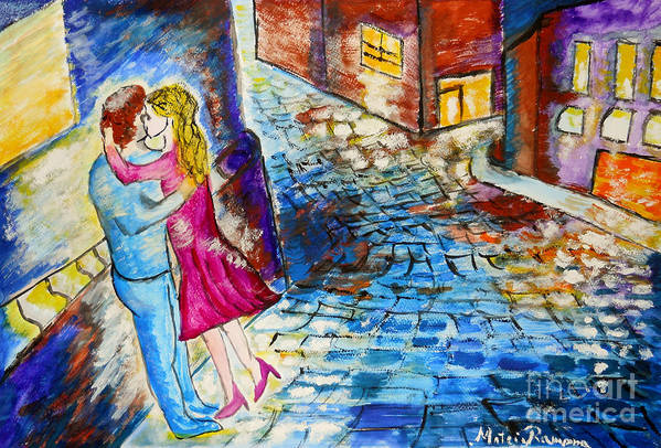 Kiss Art Print featuring the painting Street Kiss By Night by Ramona Matei