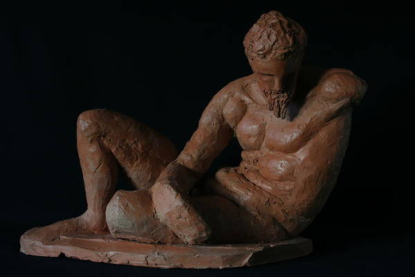 Man Sculpture Art Print featuring the sculpture Study Of The River God by Flow Fitzgerald