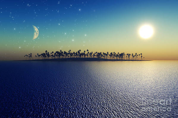 Islands Art Print featuring the digital art Sun And Moon by Aleksey Tugolukov
