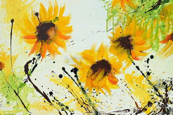 Sunflowers Art Print featuring the painting Sunflowers - Abstract Painting by Ismeta Gruenwald
