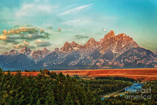 Landscape Art Print featuring the photograph Sunrise At Grand Tetons by Robert Bales