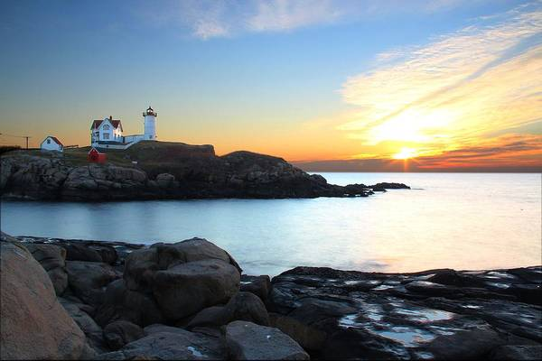 York Art Print featuring the photograph Sunrise At Nubble by Andrea Galiffi