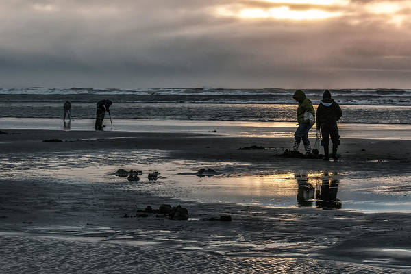 Sunrises Over The Diggers Of Clams Art Print featuring the photograph Sunrise Clam Tide by Nichon Thorstrom