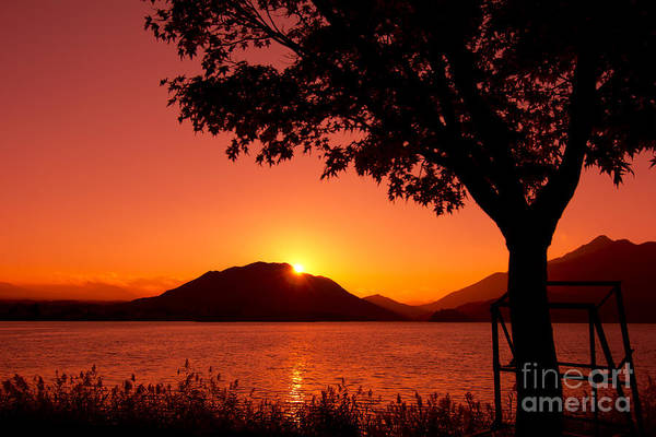 Sunset At The Lake Art Print featuring the photograph Sunset At The Lake by Beverly Claire Kaiya