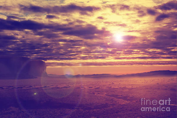 Desert Art Print featuring the pyrography Sunset In The Desert by Jelena Jovanovic