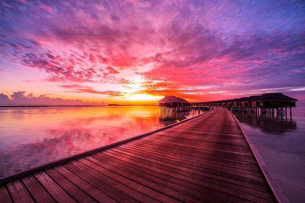 Sunset On Maldives Island Water Villas Resort Beautiful Sky And Clouds Beautiful Beach Background For Summer Travel With Sun Beach Wooden Jetty