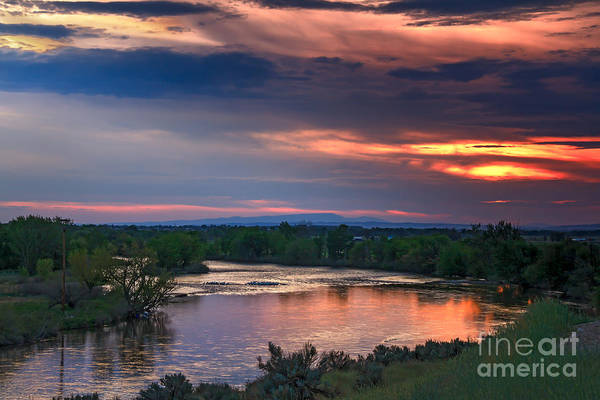 Sunset Art Print featuring the photograph Sunset On The Payette River by Robert Bales