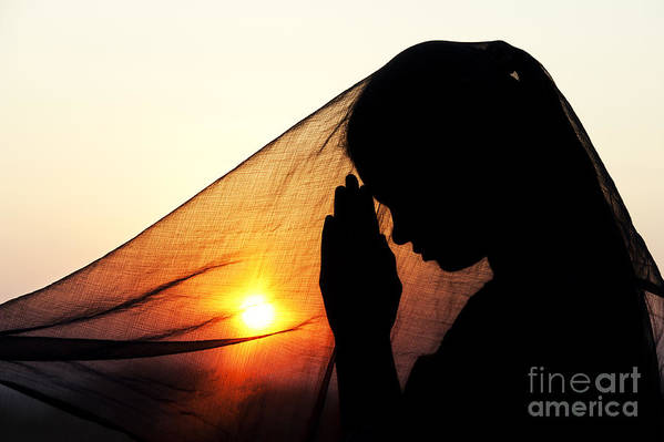Girl Art Print featuring the photograph Sunset Prayers by Tim Gainey
