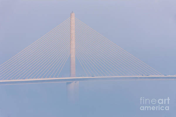 Clarence Holmes Art Print featuring the photograph Sunshine Skyway Bridge In Fog II by Clarence Holmes