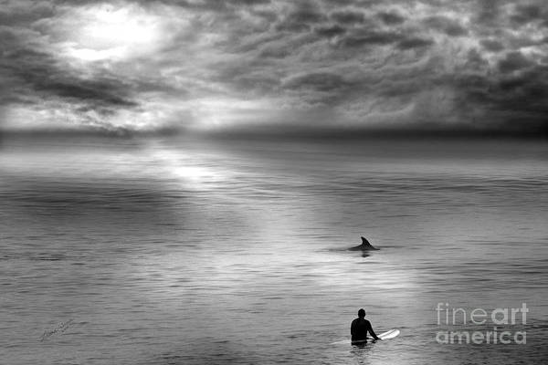 Dolphins Art Print featuring the photograph Surfing With The Dolphin by Artist and Photographer Laura Wrede