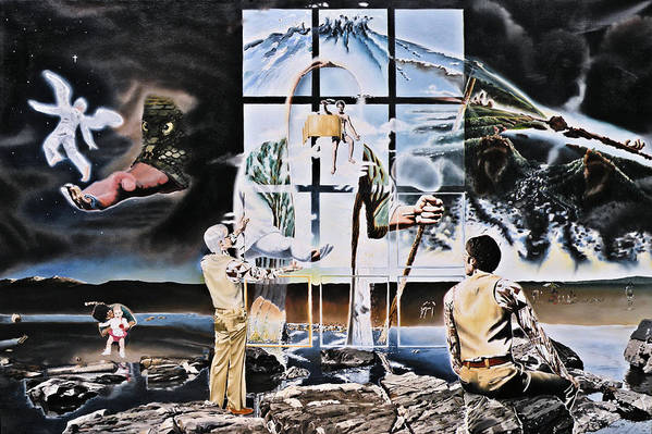 Surreal Art Print featuring the painting Surreal Windows Of Allegory by Dave Martsolf