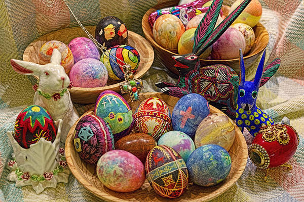 Easter; Cross; Crosses; Crucifixion; Jesus Christ; Jesus; Christ; Christian; Holiday; Holidays; Spiritual; Secular; Symbol; Symbols; Symbolism; Symbolic; Rabbit; Rabbits; Bunny; Bunnies; Easter Bunny; Egg; Eggs; Dyed; Colored; Decorated; Pysanka; Ukrainian; Mexican; Folk Art; Porcelain; Bowl; Bowls; Turned Bowl; Turned Bowls; Wooden Bowl; Wooden Bowls;spiritual;secular;photograph;photographs;photography;gary Holmes;gary; Holmes;horizontal Format;landscape;long Exposure;hdr Art Print featuring the photograph Symbols Of Easter- Spiritual And Secular by Gary Holmes