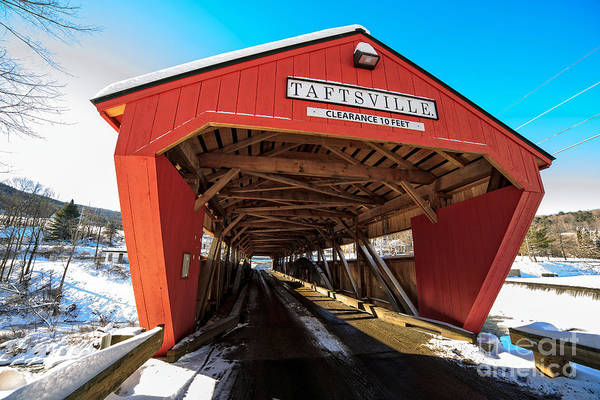 Span Art Print featuring the photograph Taftsville Covered Bridge In Vermont In Winter by Edward Fielding