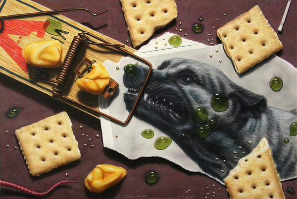 Still-life Art Print featuring the painting Taking The Bait by James W Johnson