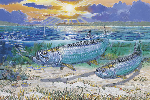Tarpon Art Print featuring the painting Tarpon Cut In0011 by Carey Chen