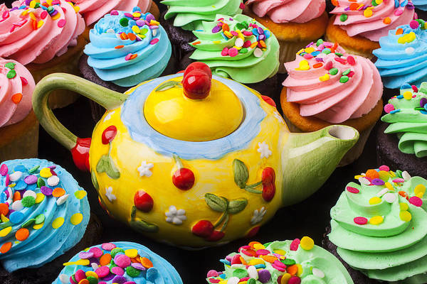 Teapot Print featuring the photograph Teapot And Cupcakes by Garry Gay