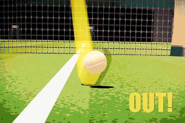 Tennis Art Print featuring the photograph Tennis Hawkeye Out by Natalie Kinnear