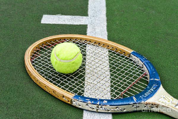 Paul Ward Art Print featuring the photograph Tennis - Wooden Tennis Racquet by Paul Ward