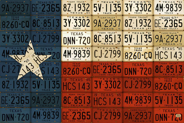 License Plate Map Art Print featuring the mixed media Texas Flag The Lone Star State License Plate Art by Design Turnpike