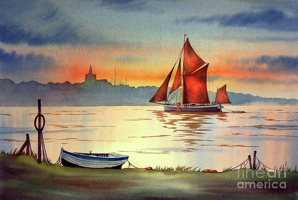 Thames Barge Art Print featuring the painting Thames Barge At Maldon Essex by Bill Holkham