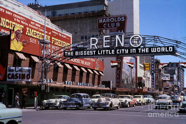 Arch Art Print featuring the photograph Reno The Biggest Little City In The World 1940s by Wernher Krutein