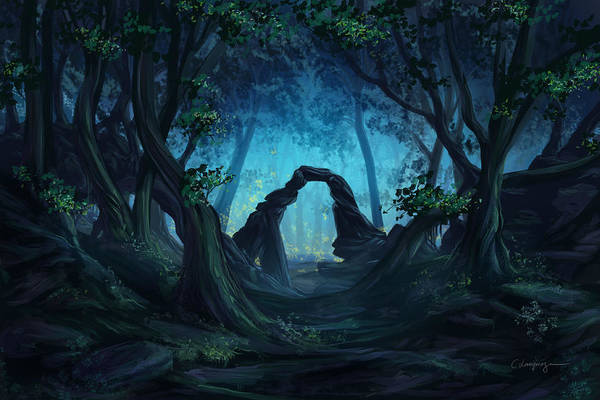 Fantasy Art Print featuring the digital art The Blue Forest by Cassiopeia Art