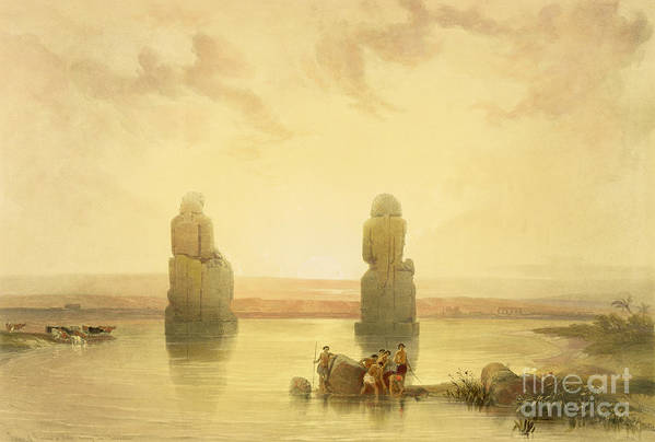 Colossal Art Print featuring the painting The Colossi Of Memnon by David Roberts