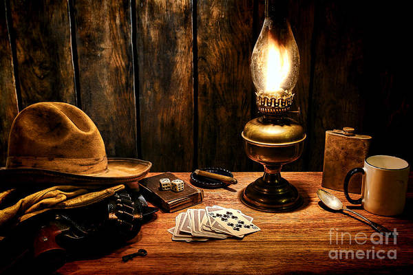 Cowboy Art Print featuring the photograph The Cowboy Nightstand by Olivier Le Queinec