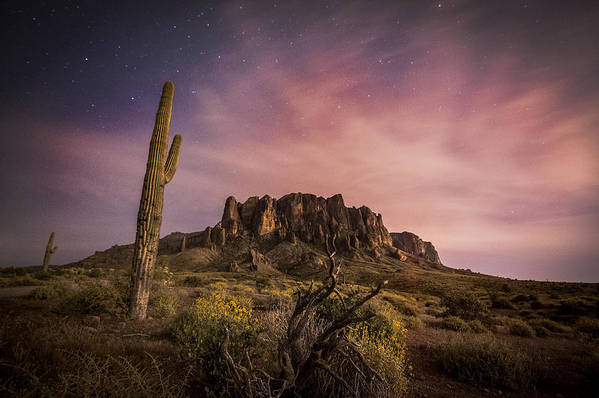 A Night Photograph Of The Flatiron During Springtime With Saguaro Cactus In The Superstition Mountains Apache Junction Arizona Print featuring the photograph The Flatiron by Anthony Citro