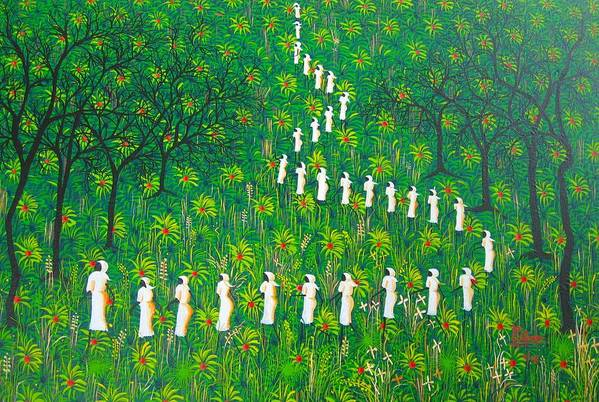 Art Print featuring the painting The Green Payages By Frantz Petion by Frantz Petion