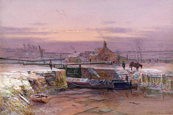 Winter Art Print featuring the painting The House By The Canal by Charles Brooke Branwhite