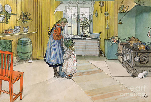 Swedish Interior; Panelled; Panelling; Wall; Cooker; Stove; Aga; Sisters; Sister; Child; Girl; Children; Bonnet; Domestic; Churning Butter; Pinafore; Barrel; Kitten Print featuring the painting The Kitchen From A Home Series by Carl Larsson