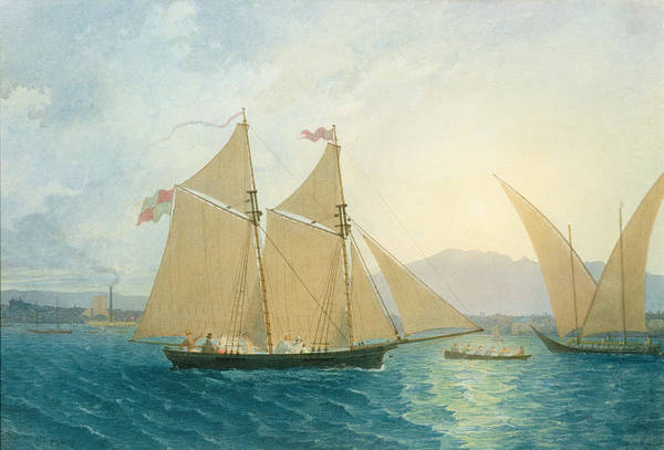 Boat; Boats; Sails; Sailing; Rowing; Flag; Yacht; Yachting; Boating; Mountains; Swiss City; Switzerland; Launching Art Print featuring the painting The Launch La Sociere On The Lake Of Geneva by Francis Danby