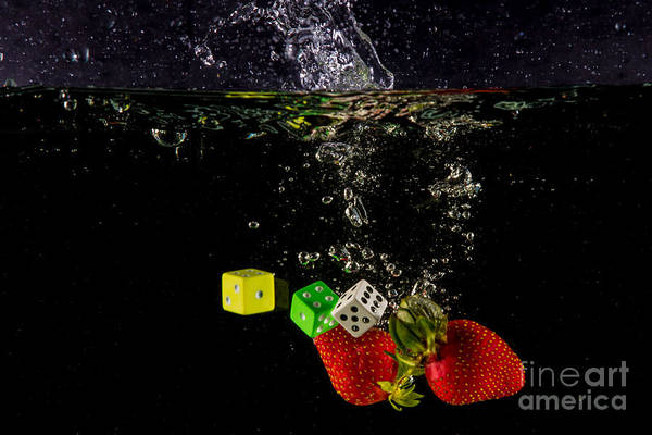 Dice Art Print featuring the photograph The Lucky 7 Splash by Rene Triay Photography