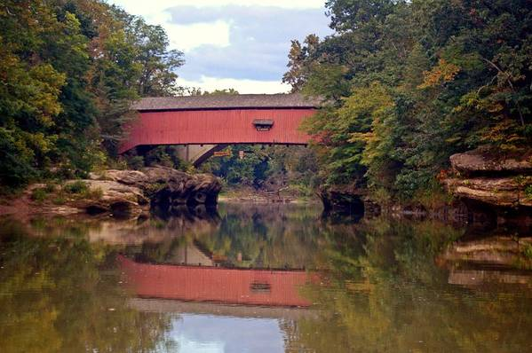 Covered Bridge Art Print featuring the photograph The Narrows Covered Bridge 4 by Marty Koch