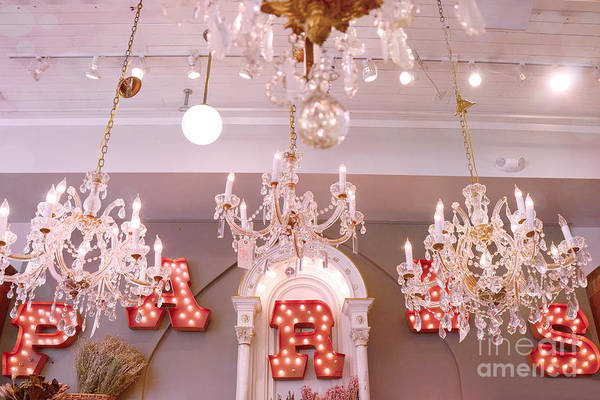 Savannah Georgia Shoppes And Markets Art Print featuring the photograph The Paris Market - Savannah Georgia Paris Market - Paris Market Shoppe - Paris Brocante Chandeliers by Kathy Fornal