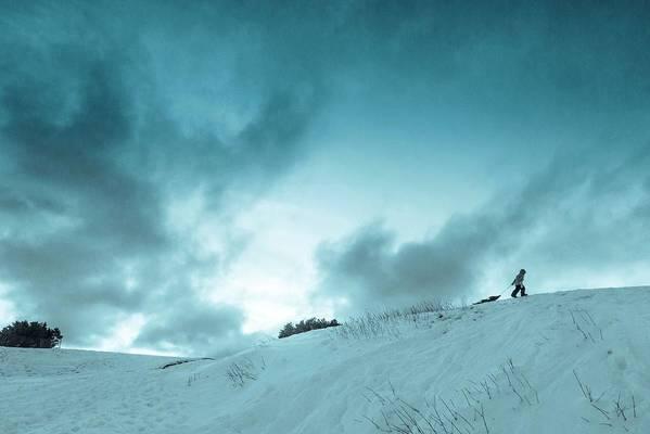 Sledding sledding Hill winter Landscape Snow Fun Nature greeting Card mary Amerman Minnesota Duluth child Sledding Print featuring the photograph The Sledding Hill by Mary Amerman