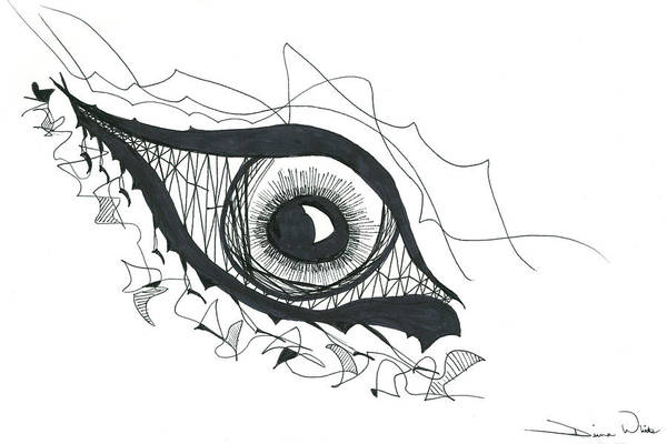 Eye Art Print featuring the drawing The Sorcerer's Divine Dance Of Infinite Divine Light by Daina White