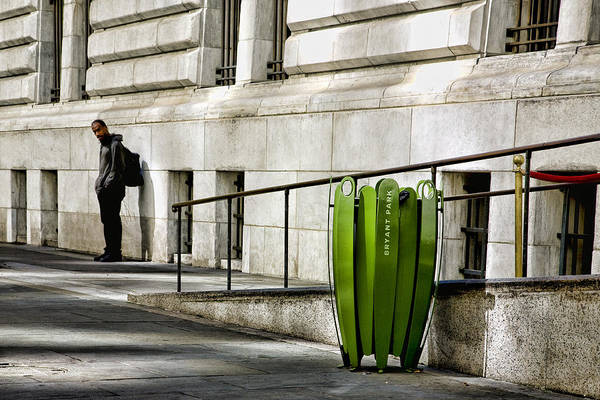 Bryant Park Art Print featuring the photograph The Story Of Him Waiting And A Green Trashcan by Joanna Madloch