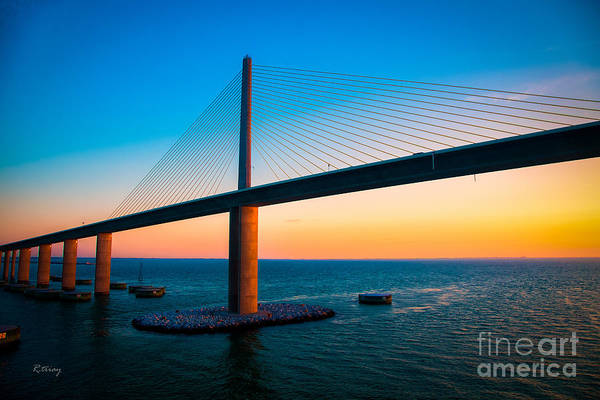 Sunshine Skyway Bridge Art Print featuring the photograph The Sunshine Under The Sunshine Skyway Bridge by Rene Triay Photography