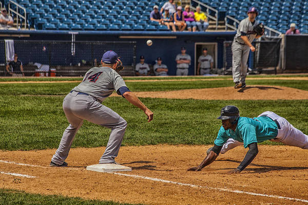 Baseball Print featuring the photograph The Throw To First by Karol Livote