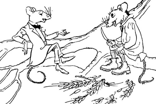 Mouse Art Print featuring the drawing The Town Mouse And The Country Mouse by Arthur Rackham