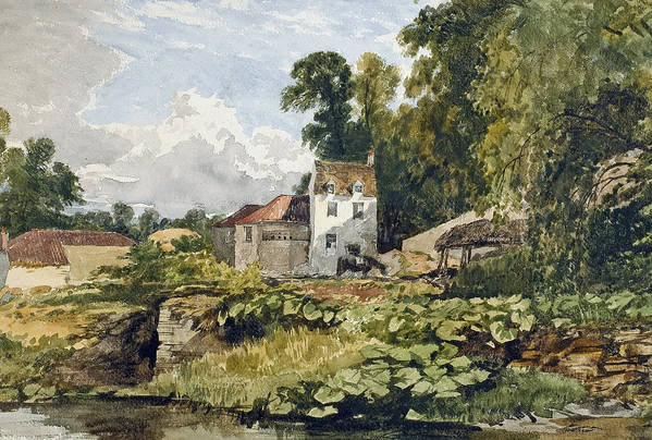 White; House; White House; Remote; Countryside; Rural; Lake; River; Riverbank; Pond; Green; Lush; Spring; Summer; Sunshine; Idyllic; Loose; Handling; English; British; Print featuring the painting The White House by William James Muller