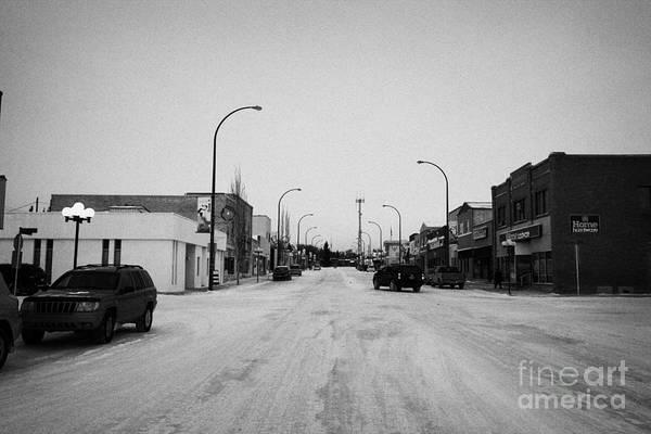 Third Art Print featuring the photograph third avenue main street through Kamsack Saskatchewan Canada by Joe Fox