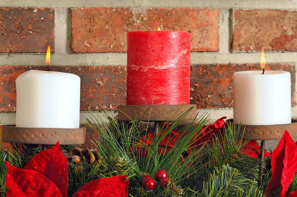 Christmas Art Print featuring the photograph Three Christmas Candles by Kenneth Sponsler